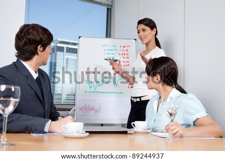 Business woman giving presentation to colleagues during meeting at office - stock photo