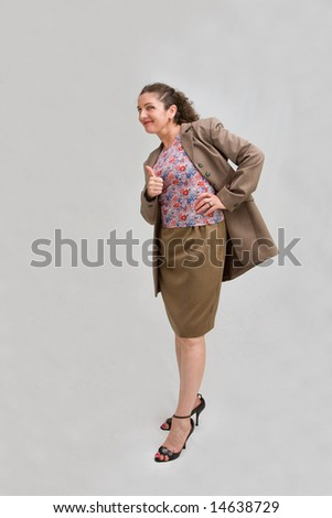 Business woman giving thumbs up making 'okay' sign, isolated - stock photo