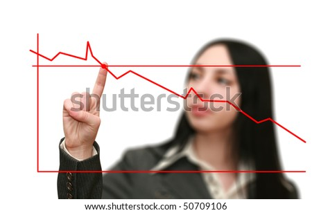 Business woman graph shows the growth - stock photo