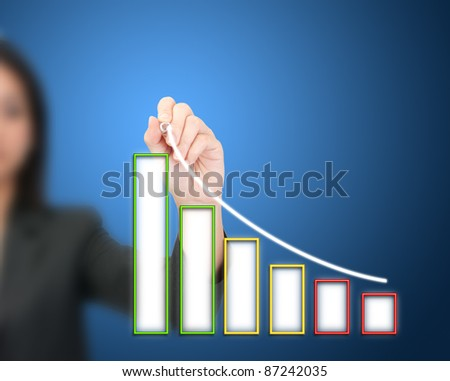 Business woman hand drawing a graph - stock photo