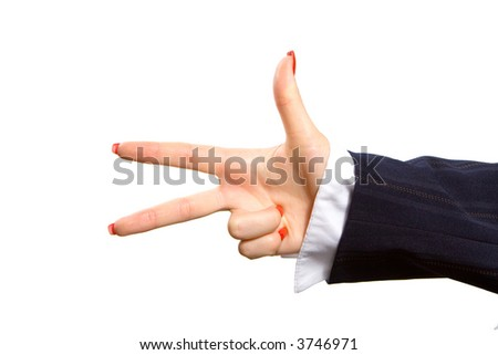 Business woman hand gesture isolated in white background