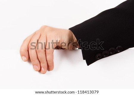 Business woman hand holding and showing white, empty poster, paper sign for your message, isolated on white background.