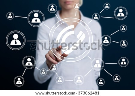 Business woman hand press web telephone button - stock photo