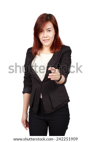 business woman handshake gesturing, isolated on white. Concept of leadership and cooperation