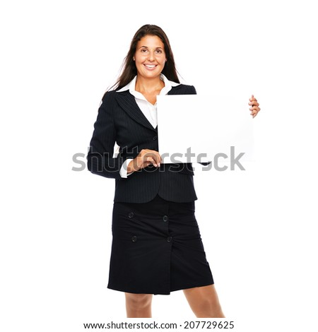 Business woman happy cheerful smiling presenting empty copy space sign.    Isolated on a white background.