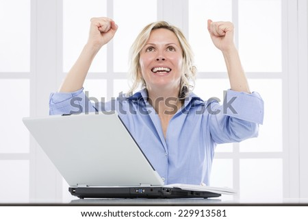 Business woman, happy of succes - stock photo