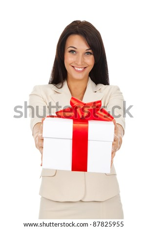 Business woman happy smile hold gift box in hands. Isolated over white background - stock photo