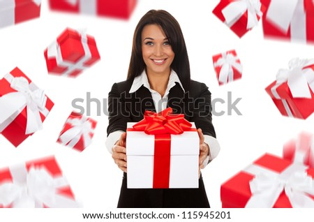 Business woman happy smile hold gift box in hands,  present fall fly around. Isolated over white background