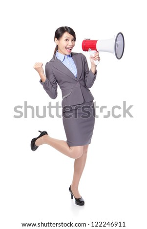 Business woman happy with a megaphone and hand show win gesture in full length isolated on white background, model is a asian beauty - stock photo