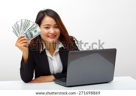 business woman happy with salary money - stock photo