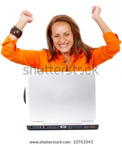 business woman having success online on her laptop isolated over a white background - stock photo