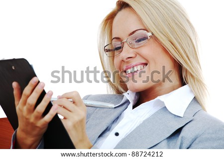 business woman hold a folder of papers  and write - stock photo