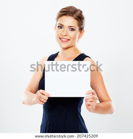 Business woman hold banner, white background  portrait. Female business model. Smiling girl isolated.