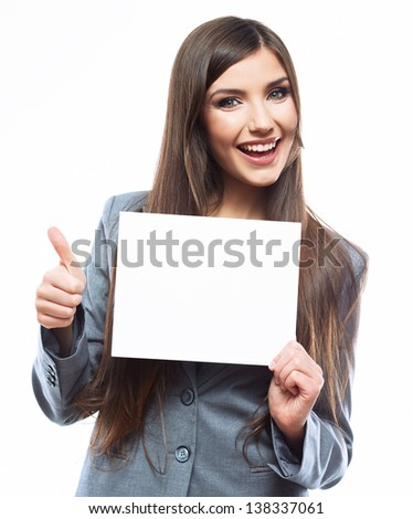 Business woman hold banner, white background  portrait. Thumb up. Female business model. Smiling girl isolated. - stock photo