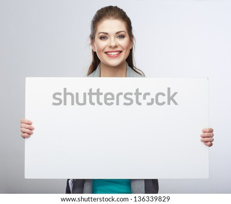 Business woman hold blank card. Smiling business woman. - stock photo