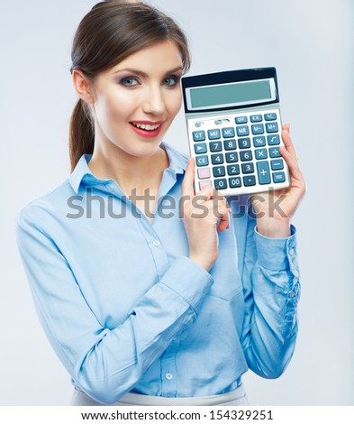 Business woman hold count machine - stock photo