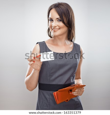 Business woman hold credit card from purse. Isolated portrait - stock photo