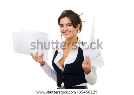 Business woman hold documents with standing, smiling and looking at camera - stock photo