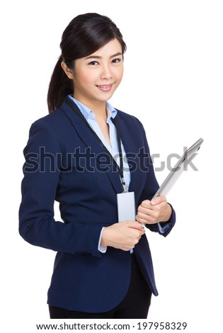 Business woman hold laptop computer