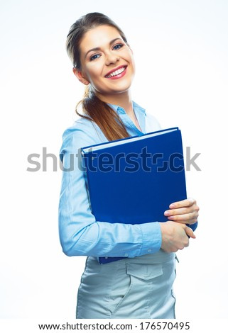 Business woman hold paper folder. Smiling female model isolated on white background. - stock photo