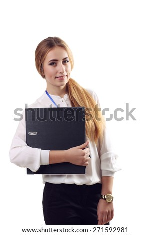 Business woman hold paper folder. Smiling female model isolated on white background