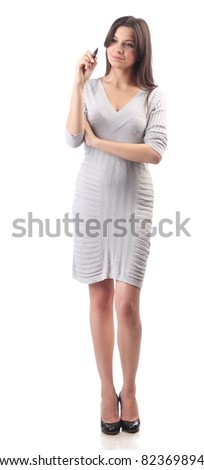 Business woman hold pen. Office worker - stock photo