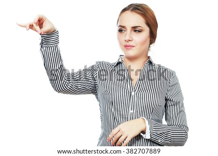 business woman hold something with disgust - stock photo