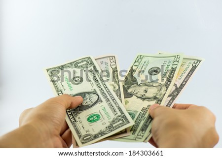 Us dollars bank note in hand business woman hold us dollars bank note