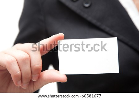 Business woman holding a blank card
