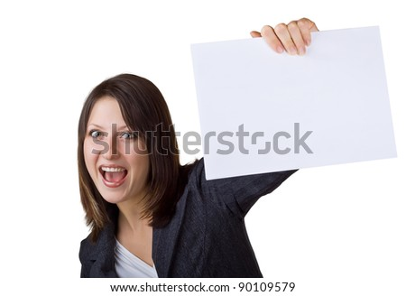 Business woman holding a blank sign, isolated on white background - stock photo