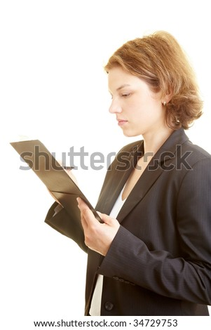 Business woman holding a checklist - stock photo
