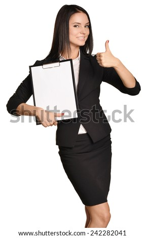 Business woman holding a clip board in hand and the other showing thumbs up - stock photo