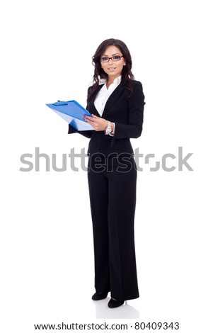 Business woman holding a clipboard, isolated on a white background.