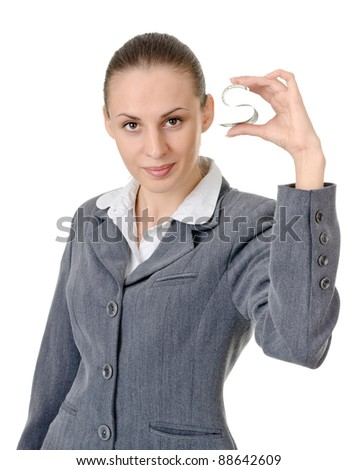 business woman holding a currency on a white background - stock photo