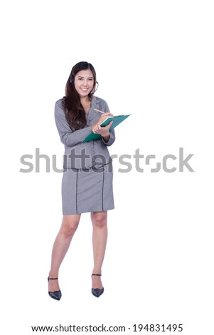 business woman holding a folder isolated over white background