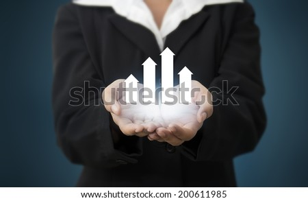 Business Woman holding a Forward Chart, representing business growth - stock photo