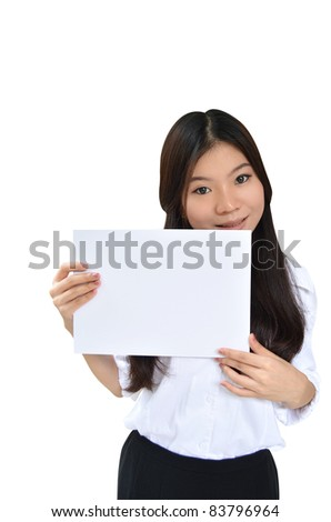 Business woman holding a message board isolated on white background - stock photo