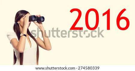 Business woman holding a pair of binoculars. She is looking into a new financial business year 2016. Looking forward to see the next year. Plan on before. Woman and binoculars. - stock photo