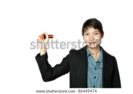 Business woman holding a pen, isolated on white background. - stock photo