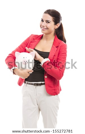 Business woman holding a piggy bank on the hands, isolated over a white background
