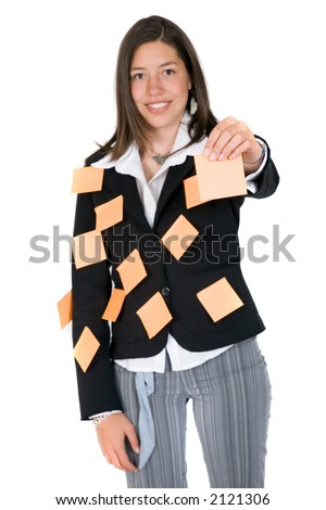 business woman holding a post it up waiting for you to give her a task - over white - stock photo