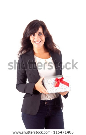 Business woman holding a present on white background - stock photo