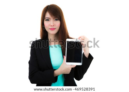 Business woman holding a tablet computer isolated on white background