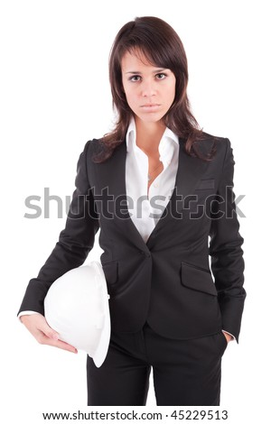 Business woman holding an helmet, isolated over white