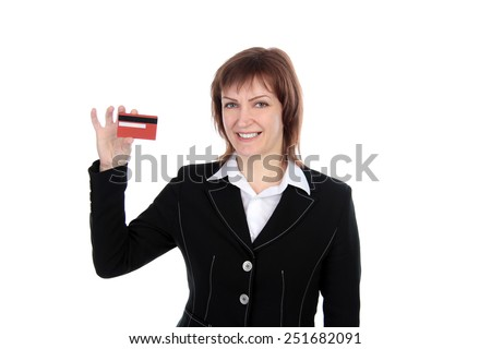 business woman holding bank card