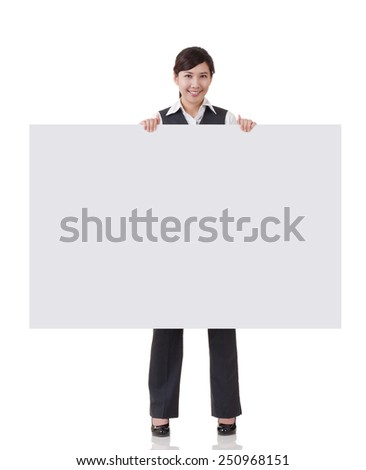 Business woman holding blank board on white background. - stock photo