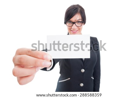 Business woman holding blank card close the camera with copy space or copyspace - stock photo