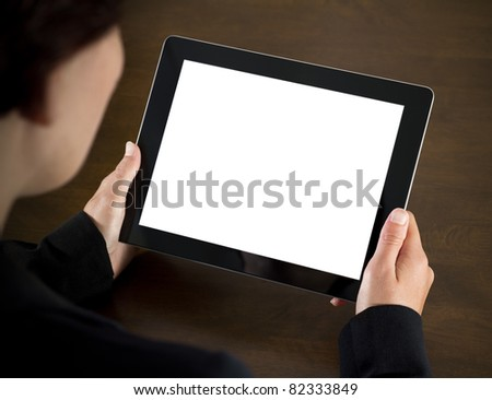 Business woman holding blank touch screen device. - stock photo
