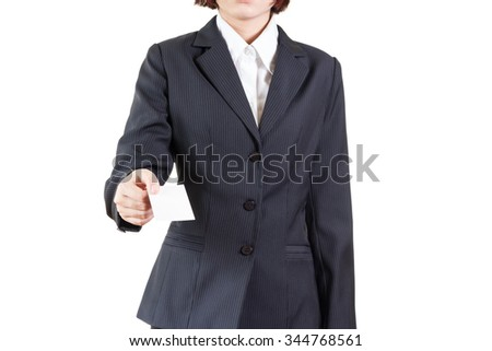 business woman holding business card isolated on white background