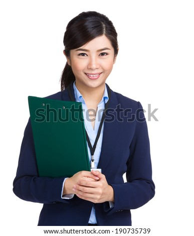 Business woman holding clipboard - stock photo